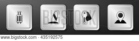 Set Suitcase, Surfboard, Hotel Door Lock Key And Location Icon. Silver Square Button. Vector
