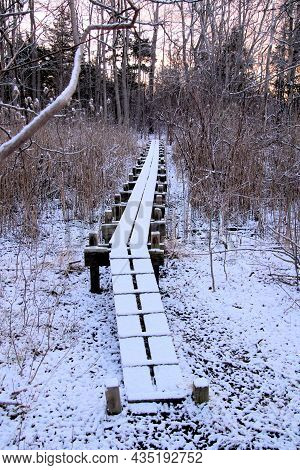 Long Narrow Foot Bridge Over Wetlands Covered In A Dusting Of Snow On A Cold Winter Day.