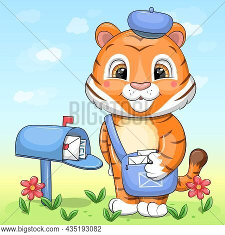 A Cute Cartoon Tiger Postman With A Blue Bag And Hat Stands Next To The Mailbox. Vector Illustration