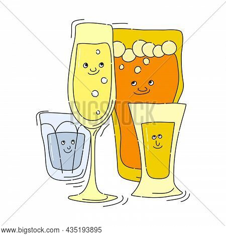 Champagne Vodka Beer Tequila Glassware With Smile Face On White Background. Cartoon Sketch. Doodle S