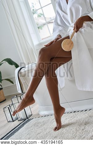 Cropped Image Of Young Beautiful African American Black Girl Wearing White Gown Massaging Peeling Le