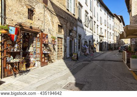 Gubbio, Italy, July 17, 2019: A Beautiful View Of Gubbio, Medieval Town In The Province Of Perugia,