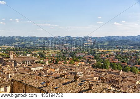 Panoramic View Of The Ancient City Of Gubbio, A Medieval City In Umbria