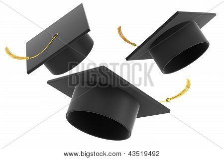 Graduation hat on white background