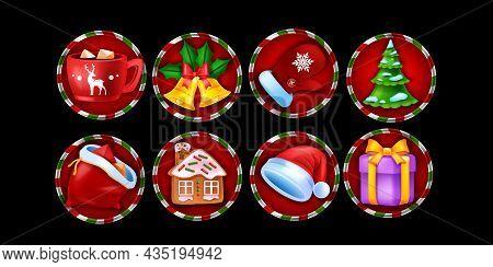 Christmas Casino Slot Game Icon Set, Winter Holiday X-mas Symbol, Vector Online Gambling Elements. N