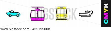 Set Car, Cable Car, Train And Railway And Rafting Boat Icon. Vector