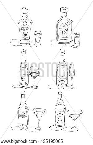 Bottle And Glass Tequila, Rum, Wine, Champagne, Martini, Vermouth Together In Hand Drawn Style. Rest