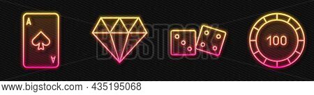 Set Line Game Dice, Playing Card With Spades, Diamond And Casino Chips. Glowing Neon Icon. Vector