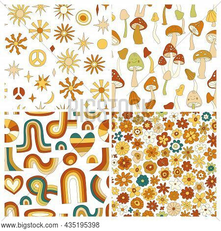 70s Groovy Hippie Retro Seamless Pattern Set. Vintage Floral Vector Pattern Collection. Wavy Floral