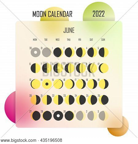 June 2022 Moon Calendar. Astrological Calendar Design. Planner. Place For Stickers. Month Cycle Plan