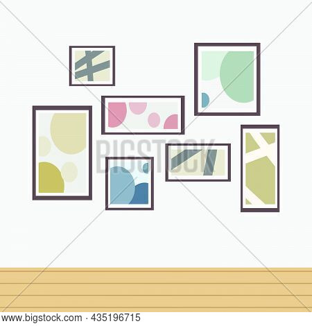 Framed Paintings Hung On Walls. Cafe Interior Wall Decor By Artwork.flat Vector Illustration Of Ador
