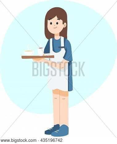 Girl Holding Tray And Serving Coffee, Tea At Coffee Shop. Cute Waitress Serving Coffee. Flat Isolate