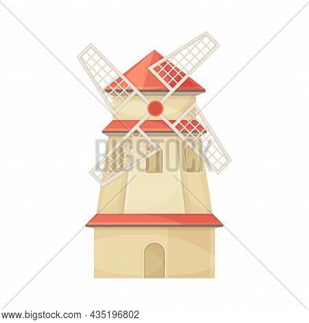 Traditional Wooden Rural Windmill Farm Agricultural Building Flat Vector Illustration