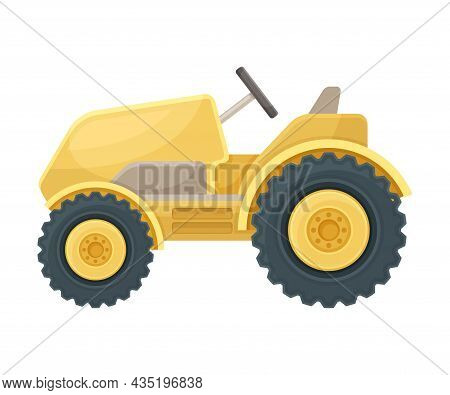 Yellow Mini Tractor Industrial Agricultural Vehicle Flat Vector Illustration