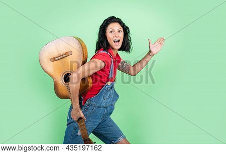 Just Have Fun. Young Hipster Playing On Guitar. Singer With Acoustic Guitar. Music And Art. Musical