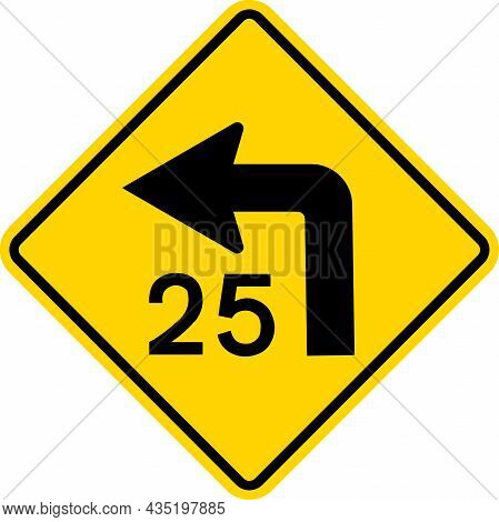 Combination Left Turn Speed Advisory Sign. Diamond Background. Traffic Signs And Symbols.