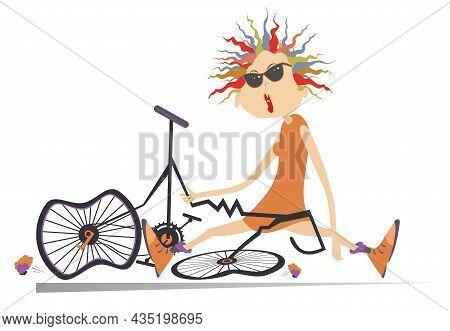 Sad Cyclist Woman And Broken Bike Illustration.  Cartoon Cyclist Woman In Sunglasses Sitting Near A