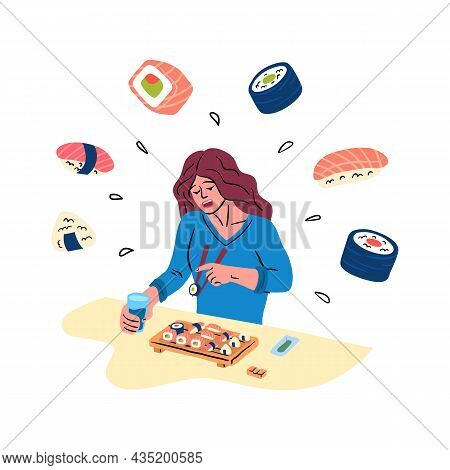 Cartoon Color Character Woman Eating Sushi Japanese Traditional Food Concept Flat Design Style. Vect