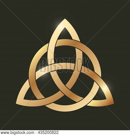 Celtic Triquetra Knot On Black Background. Golden Celtic Trinity Knot. Intertwined Triangular Figure