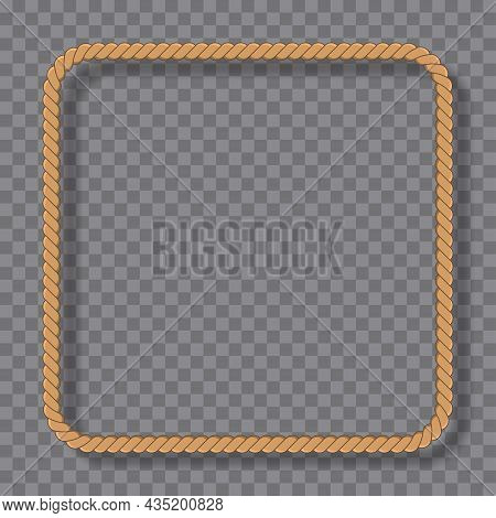 Square Rope Frame In Marine Style Isolated On Transparent Background. Yellow Nautical Twisted Rope W