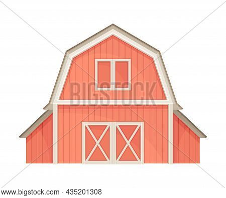 Red Barn Farmhouse Agricultural Building, Front View Flat Vector Illustration