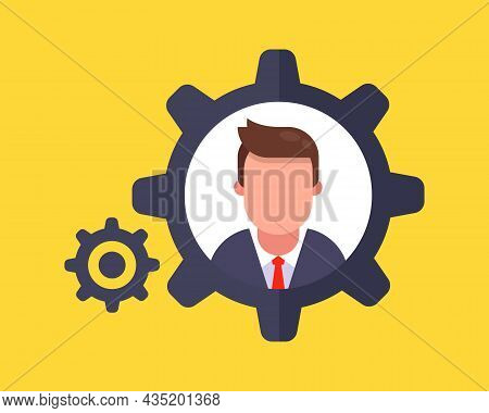 Gear Mechanism. Chief Employee Of The Company. Flat Character Vector Illustration.