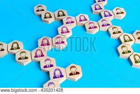 People Form A Chain Of Communication. Cooperation For Solving Tasks. Networking. Multiculturalism. C