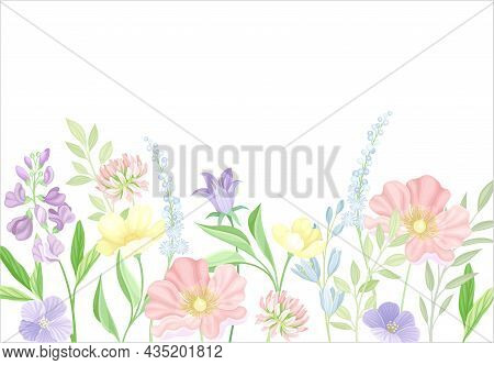 Greeting Card With Flowers. Wedding Invitation, Poster, Flyer With Flowers In Pastel Colors Vector I