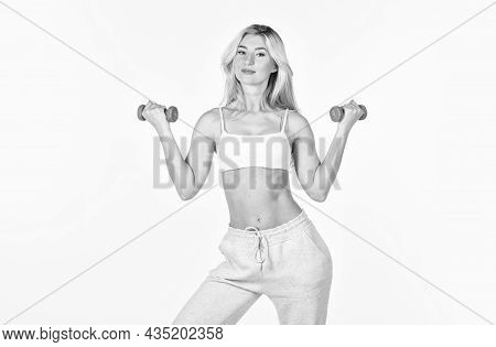 Motivation. Feel Yourself Better. Woman With Perfect Body Exercising. Great Shape. Female Fitness Gi