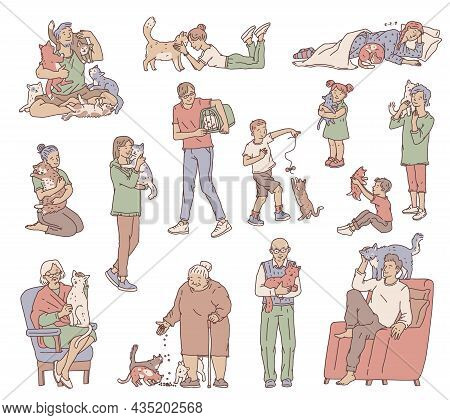 People Of Different Ages With Not Pedigreed Cats. Characters Hug And Take Care Of Their Favorite Pet