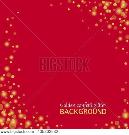 Gold Holiday Confetti Glitter On Red Background. Alluring Festive Overlay Template. Majestic Merry S