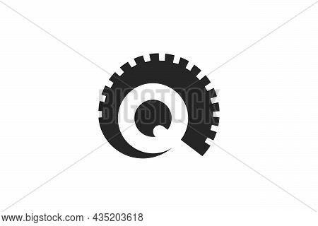 Horn Letter Q Logo Design Concept. Unique Logo Combination Of Circular Horns With Letter Q In Negati