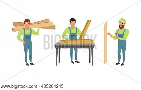 Professional Man Carpenter In Overall Carrying Wooden Planks And Nailing Vector Set
