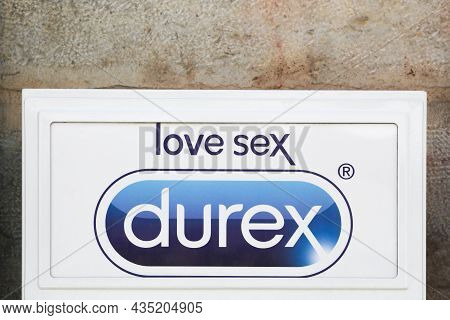 Villefranche, France - May 24, 2020: Durex Condoms Logo On A Wall In France. Durex Is A Registered T