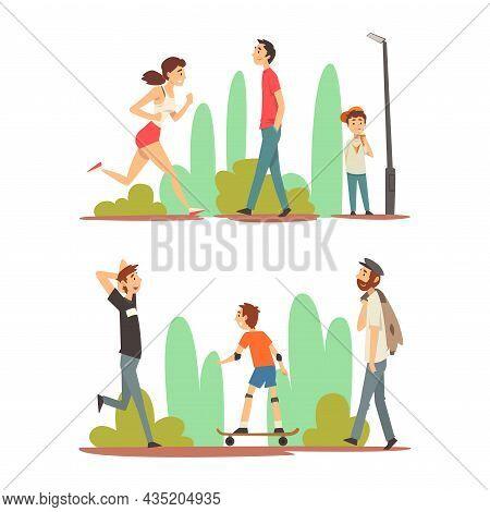 People Character Enjoying Outdoor Walk Running And Skateboarding Along Alley Road Vector Set