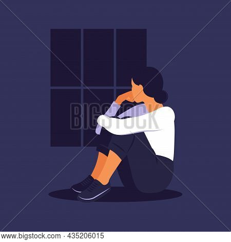 Woman In Depression With Bewildered Thoughts In Her Mind. Young Sad Girl Sitting In Window And Huggi