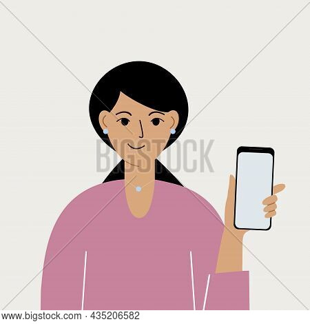 Joyful Woman With Mobile Phone, Front View. Taking Pictures, Reading, Chatting. Smartphone And Inter