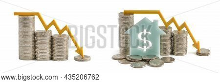 Inflation And The Economic Crisis. Financial Market Crash Isolate On White Background. House With A