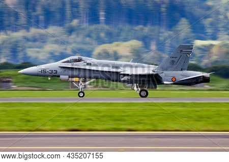 Zeltweg, Austria - September 2, 2016: Military Fighter Jet Plane At Air Base. Air Force Flight Opera