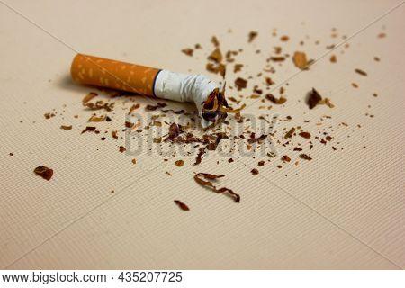 A Part Of A Cigarette Isolated On A White Background. Tobacco Sheet Is Racially Pand. The Concept Of