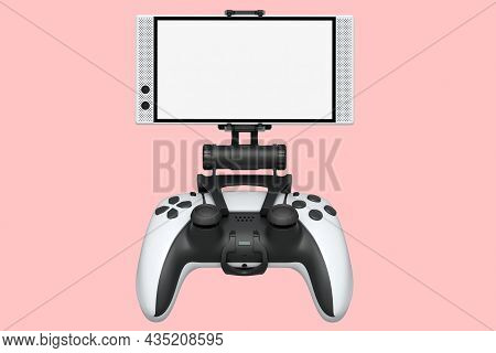 Realistic White Joystick For Playing Games On Mobile Phone On Pink Background
