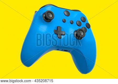 Realistic Blue Joystick For Video Game Controller On Yellow Background