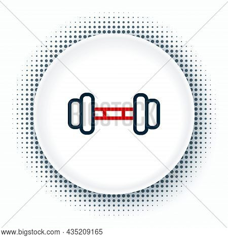 Line Dumbbell Icon Isolated On White Background. Muscle Lifting Icon, Fitness Barbell, Gym, Sports E