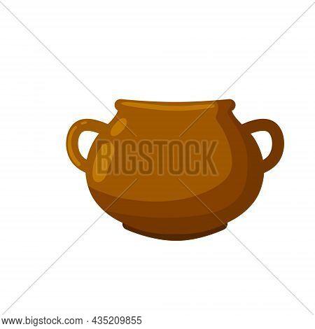 Clay Pot. Copper Jug. Brown Antique Tableware With Handles.