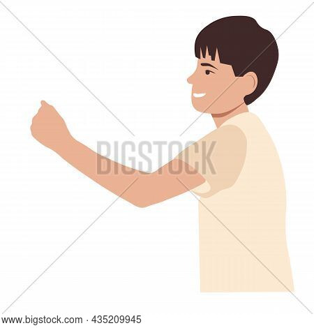 Angry Kid Threatened With A Fist Vector Stock Illustration. The Boy Waves His Fist With A Smile. Chi