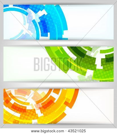 Set of color tech banners and circle poster