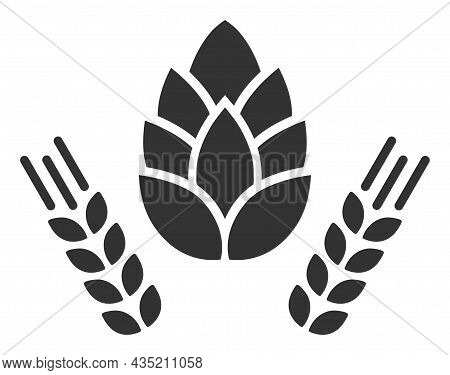 Barley And Hop Icon With Flat Style. Isolated Vector Barley And Hop Icon Illustrations, Simple Style