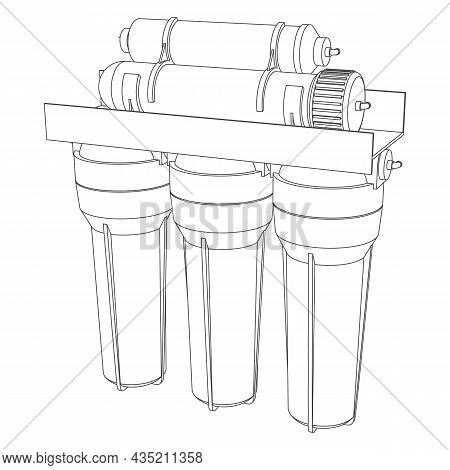 Vector Outline Drink Water Filter, Reverse Osmosis Home System