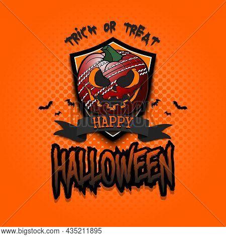 Happy Halloween. Logo Cricket Ball As Pumpkin