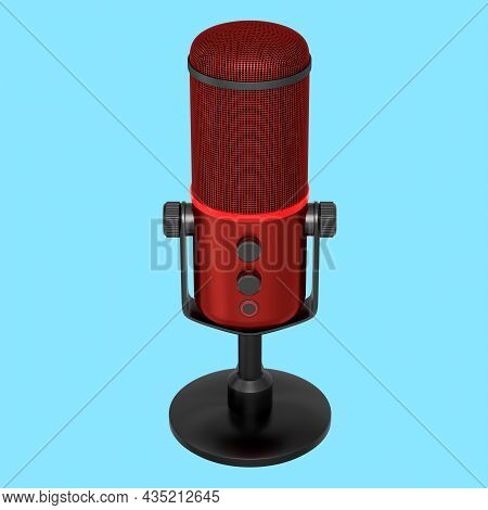 3D Rendering Of Red Studio Condenser Microphone Isolated On Blue Background
